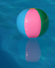 Beach Ball in Pool (manxmaid2000) Tags: pink blue summer vacation sun holiday color colour reflection colors pool swim ball circle fun colorful colours bright lifestyle reflect inflatable round colourful bold bluebeachball