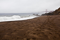 Footsteps and Fog (Edwin_Abedi) Tags: sanfrancisco california beach fog bay baker goldengate