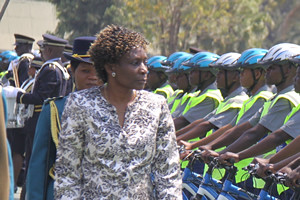 Judicial Service Commission Secretary Rita Makarau inspecting a police column. She has called for Zimbabwe to create rural courts.  by Pan-African News Wire File Photos