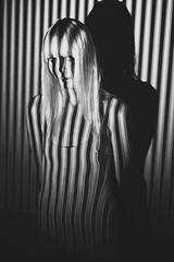 vertigo (schaharazad) Tags: portrait white black vertical model stripes blonde