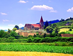 Transylvania Fortified Saxon Church Built 1422, Saros pe Tarnave, Romania