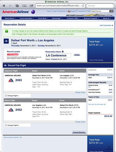 AA Reservation Page on iPad