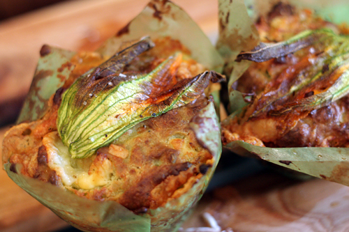 zucchini flower and duck egg muffins