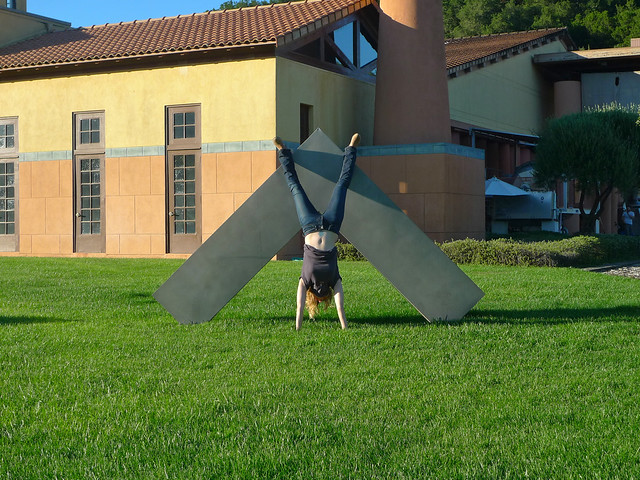 Handstands with sculpture