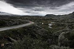 Norwegian Curves (fresch-energy) Tags: street red mountains norway clouds grey rocks day cloudy norwegen wolken hills norwegian berge curve kurve hügel strase norwegisch