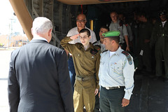 Gilad Shalit Salutes Israel Prime Minister Ben...