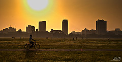 kolkata postcard (swarat_ghosh) Tags: morning orange sun india playing green bicycle silhouette yellow landscape nikon asia cityscape cyclist ground cricket 1855mm sunrays d3000 kolkatamaidan swaratghoshphotography