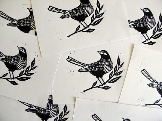 Linocut bird prints