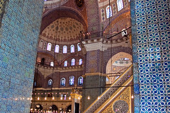 Inside the New Mosque (Yeni Camii), Istanbul (Miche & Jon Rousell) Tags: blue white west turkey mosaic turquoise muslim islam istanbul mosque east tiles bosphorus yenicamii newmosque iznic bazaardistrict
