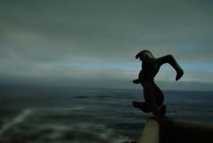 The Dream of the Atlante (Jump into the Ocean) (The North West Of Nowhere) Tags: ocean sea sky cloud lighthouse water fog faro mar agua escultura galicia cielo ceo niebla nube esculpture auga ocano puntanariga nboa tensk