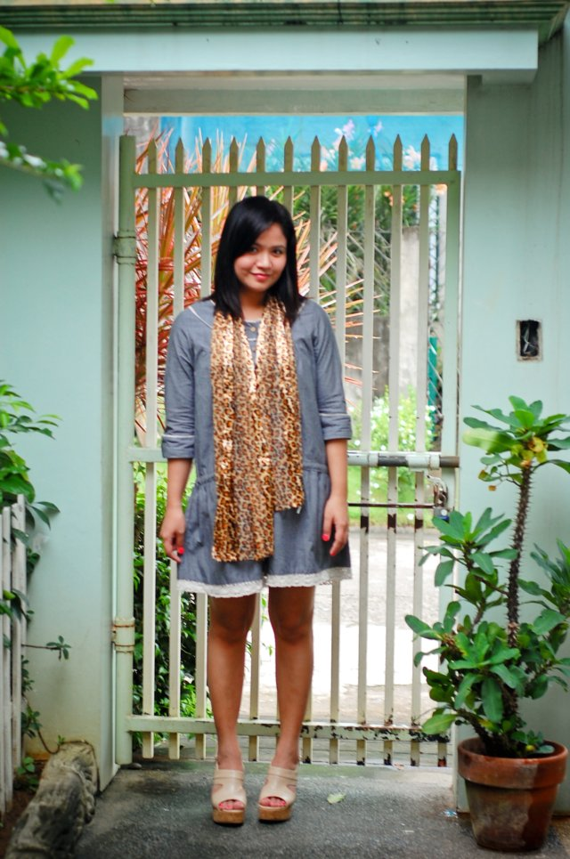 Pinstripe dress, leopard scarf and nude cork sandals