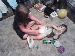 Lilly Changing Diaper (bekahbug04) Tags: boy baby girl zach kids children child floor diaper lilly change