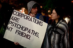 "260/365 - ""Corporations are Psychopaths, My Friend"", OccupyWallStreet Protest, Day 1. (Gina Herold) Tags: wallst fidi occupywallst takewallst"