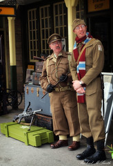 Is it here yet (smithrachael) Tags: station train private actors platform 1940s pike officer reenactors embsay brengun dadsarmy homeguard captainmainwaring
