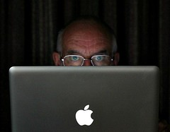 Core values? (Peter Denton) Tags: selfportrait male me apple computer logo glasses eyes laptop osx applemac moi terror spectacles fright middleage selfie macbookpro i canoneos60d peterdenton