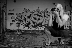 Corrupting my little cousin... (.:Chelsea Dagger:.) Tags: camera ohio portrait urban usa abandoned girl america photography graffiti unitedstates decay cleveland clevelandohio american blonde teenager typoe ridle chelseadagger chelseakaliwhatever cmckeephotography chelseamckee