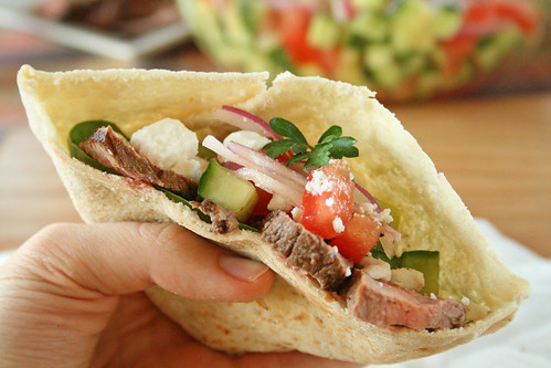 Greek Steak Salad Pita Pockets