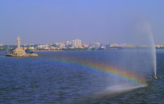 Rainbow with Fouintain Spray at Hussain Sagar -#20092011-P9201214 (photographic Collection) Tags: india fountain rainbow buddha bluesky olympus photographic collection ap sep e300 hyderabad andhra 20th pradesh sagar evolt hussain andhrapradesh hussainsagar 2011 sarma kalluri photographiccollection bheemeswara bkalluri bheemeswarasarmakalluri