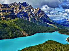 Peyto Lake - Sept 2010 (Jeff Clow) Tags: lake mountains nature landscape bravo valley albertacanada banffnationalpark peytolake glaciallake bowvalley