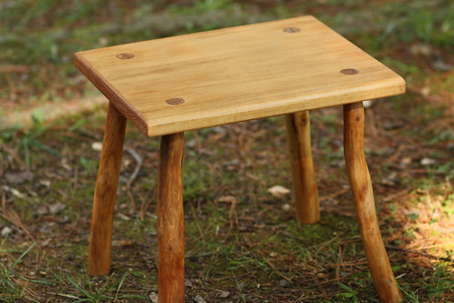 Bradford pear and butternut footstool