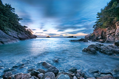 Small Inlet at 18:11 (-TommyTsutsui- [nextBlessing]) Tags: longexposure blue light sunset sea sky seascape beach nature rock japan clouds landscape bay coast nikon waves dusk tide scenic shore      hdr izu  landform  matsuzaki   sigma1020    onsalegettyimages