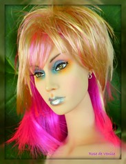 Talc bird of paradise (rosedevenise) Tags: pink portrait sexy london art mannequin nature beauty fashion glamour doll femme birdofparadise londres fatale couture poesie poupe talc sybarite superfrock oiseaudeparadis rosedevenise