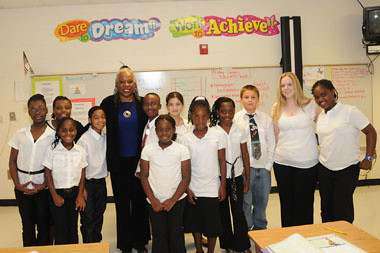 Audrey Rowe, Food and Nutrition Service Administrator, talked about the importance of healthy food habits to one of Baker County K-12 School's 5th grade classes, who dress for success every week in preparation to win the future, on August 18, 2011, in Newton, Ga.