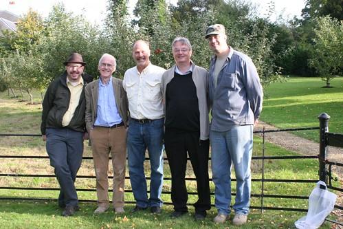 John Hawks, Randal Keynes, Ken Miller, Mark Pallen, Ben Kirkup at Down House