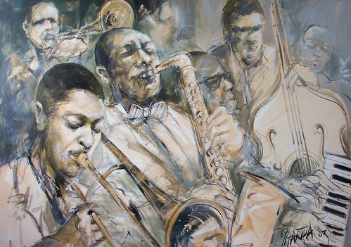 Jazz Group in Sepia colours - Painting