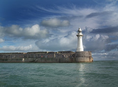 Dover Southern Breakwater Lighthouse (Paul @ Doverpast.co.uk) Tags: uk light sea england sky lighthouse house clouds coast pier kent seaside skies moody southern coastal dover breakwater