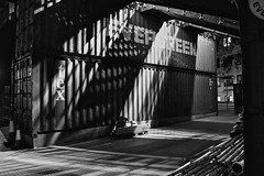 Lights on a black&white (Edo Zollo) Tags: bw london port blackwhite ship southbank trucks shipping containers centrallondon