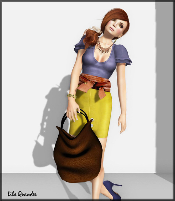 Fashionably Late - The Secret Store - Pencil Skirt - Bamboo - Skirt Prim & Fishy Strawberry Tied Big Belt - Biscuit Brown
