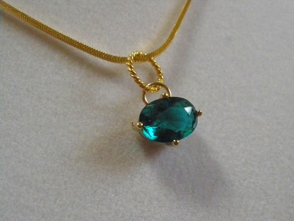 14kt Gold Premium Glass Emerald Necklace
