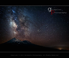Escorted by Legends (Goldpaint Photography) Tags: trees mountain snow night forest stars haze weed smoke astrophotography shasta astronomy nightsky mountshasta siskiyou lightpollution starrynight milkyway shastina notherncalifornia goldpaintphotography siskiyoumountainrange