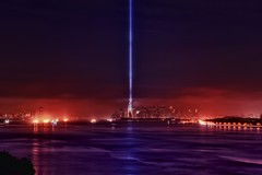 The Tribute in Lights 2011, New York City / Jersey City, NJ (mudpig) Tags: nyc newyorkcity mist ny fog brooklyn clouds geotagged newjersey memorial jerseycity worldtradecenter 911 nj esb eastriver hudsonriver empirestatebuilding gothamist chryslerbuilding groundzero bqe hdr tributeinlight brooklynqueensexpressway newyorkharbor goldmansachsbuilding freedomtower fortwadsworth tributeinlights mudpig worldtradecenter1 stevekelley stevenkelley 9112011