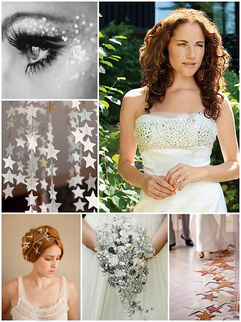 Star wedding inspiration, star fascinator, understated bridal gown sparkle, Lee Ann Belter Grace, glitter wedding make-up