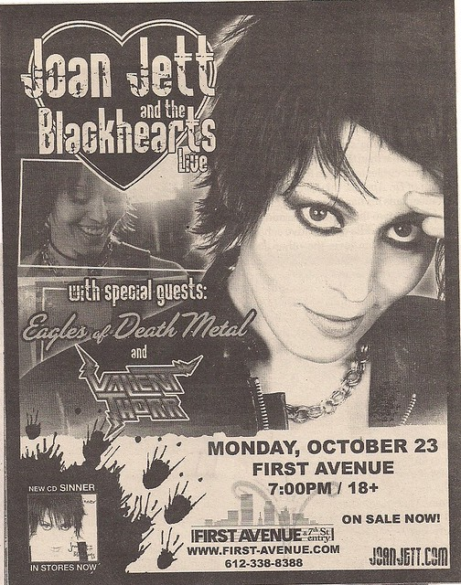 10-23-06 Joan Jett/Eagles Of Death Metal/Valiant Thorr @ First Avenue, Minneapolis (Ad)