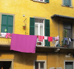 Colours (Rosmarie Wirz) Tags: windows italy facade backyard balcony getty colourful picturesque bergamo washing popularhousing laundrydrying gettyaccepted gettysold