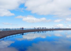 (derpunk) Tags: blue sky people white mountain lake alps reflection water clouds austria tyrol