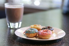 #271/365 - Chocolate Milk and Mini Donuts (Jaime Carter) Tags: pink blue newzealand food brown colour glass yellow milk sweet chocolate hamilton plate donuts snack donut waikato icing yeartwo 365 100s 1000s hundredsandthousands day271 271 canon50mmf14 2011 project365 secondedition jaimewalsh september2011 jaimecarter 3652011 28september2011
