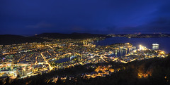 Bergen Harbour at Blue Hour (Greg Annandale) Tags: camera city longexposure travel pink blue sunset orange streets norway night docks lights nikon cityscape view harbour tripod wide panoramic nighttime setup bergen viewpoint hdr promote d90