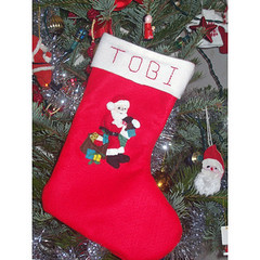 Personalised Christmas Stocking (www.withhugsandkisses.co.uk) Tags: santa christmas uk boy red baby girl father decoration childrens stocking sack applique personalised