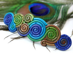 Peacock Filigree French Barrette (Starless Clay) Tags: blue brown green spiral colorful purple teal indigo polymerclay swirl jeweltone filigree hairclip peacockfeather hairaccessory filagree filligree frenchbarrette peacockcolor starlessclay