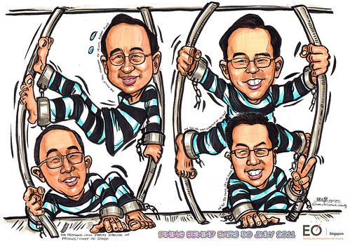 Group caricatures for EO Singapore - breaking out of prison