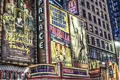 Broadway billboards in Times Square HDR (Dave DiCello) Tags: newyorkcity newyork photoshop nikon manhattan tripod timessquare nikkor hdr highdynamicrange cs4 theatredistrict photomatix tonemapped timessquarenyc colorefex cs5 d700 davedicello hdrexposed