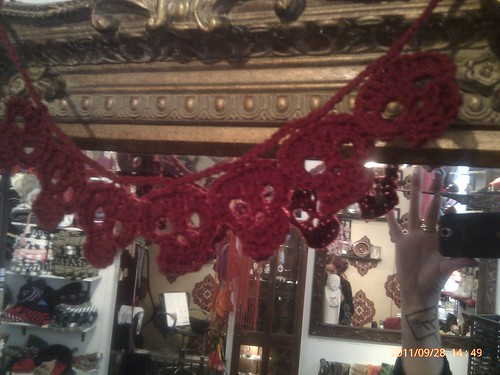 Red skull crochet garland