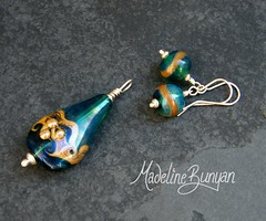 """Silvered Teal Pendant & Earrings • <a style=""""font-size:0.8em;"""" href=""""https://www.flickr.com/photos/37516896@N05/6198368160/"""" target=""""_blank"""">View on Flickr</a>"""