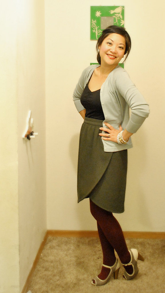 Outfit - Mad Men - 60's - Blue Gray Cardigan - Olive Tulip Skirt - Black Tank - Berry Tights - Oxford Peep-Toe Heels