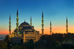 Sultanahmet Camii (the Blue Mosque) (Yavuz Alper) Tags: old city blue silhouette architecture century symbol spires istanbul mosque bluehour 17th minarets sultanahmet