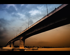 Under the Bridge (Shutterfreak ☮) Tags: bridge sky water lines architecture river filter khulna lyrical rupsha inkiad